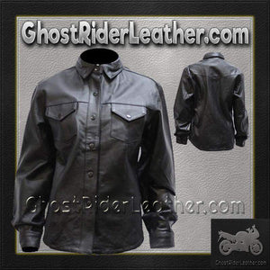 Ladies Black Leather Shirt with Snap Closure / SKU GRL-LJ276-BLK-DL - Ghost Rider Leather
