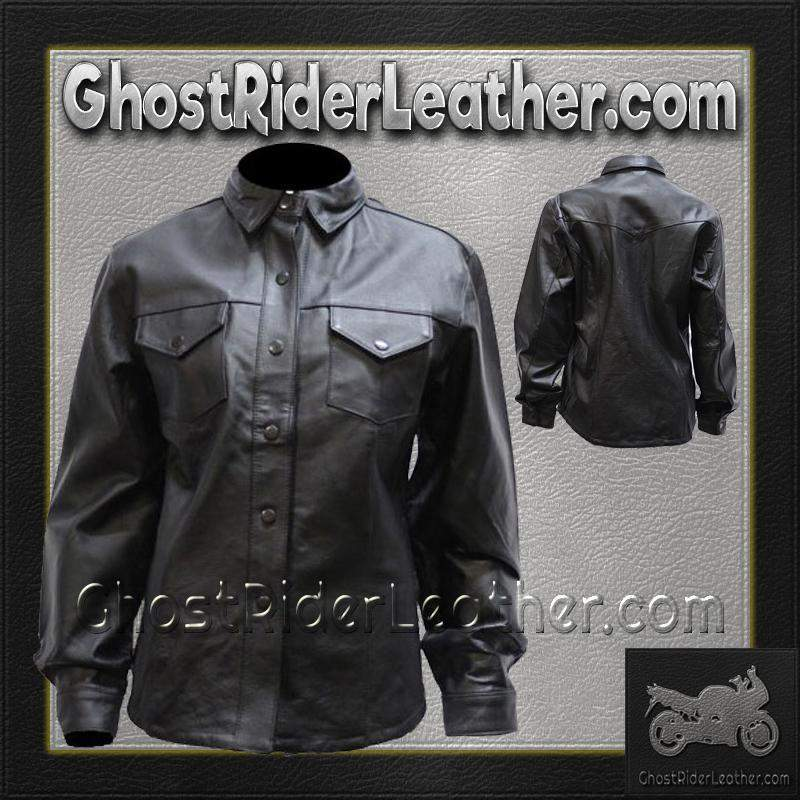 Ladies Black Leather Shirt with Snap Closure / SKU GRL-LJ276-BLK-DL-mens leather shirt-Ghost Rider Leather