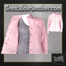 Ladies Pink Leather Shirt with Snap Closure / SKU GRL-LJ276-PINK-GRL-DL - Ghost Rider Leather