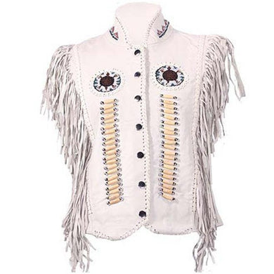 Ladies White Leather Western Style Wedding Beadwork and Bones Vest - SKU GRL-LV426-DL - Ghost Rider Leather