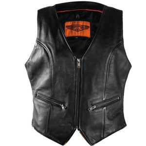 Ladies Leather Motorcycle Zipper Vest with Concealed Carry Pockets - SKU GRL-LV8507-DL - Ghost Rider Leather