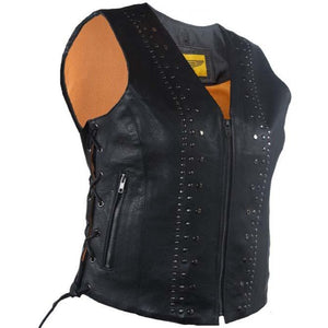 Ladies Leather Motorcycle Vest with Satin Nickel Studs - SKU GRL-LV8510-DL - Ghost Rider Leather