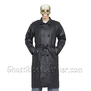 Mens Black Premium Naked Cowhide Long Leather Motorcycle Coat - SKU GRL-M8-11-DL-leather duster-Ghost Rider Leather