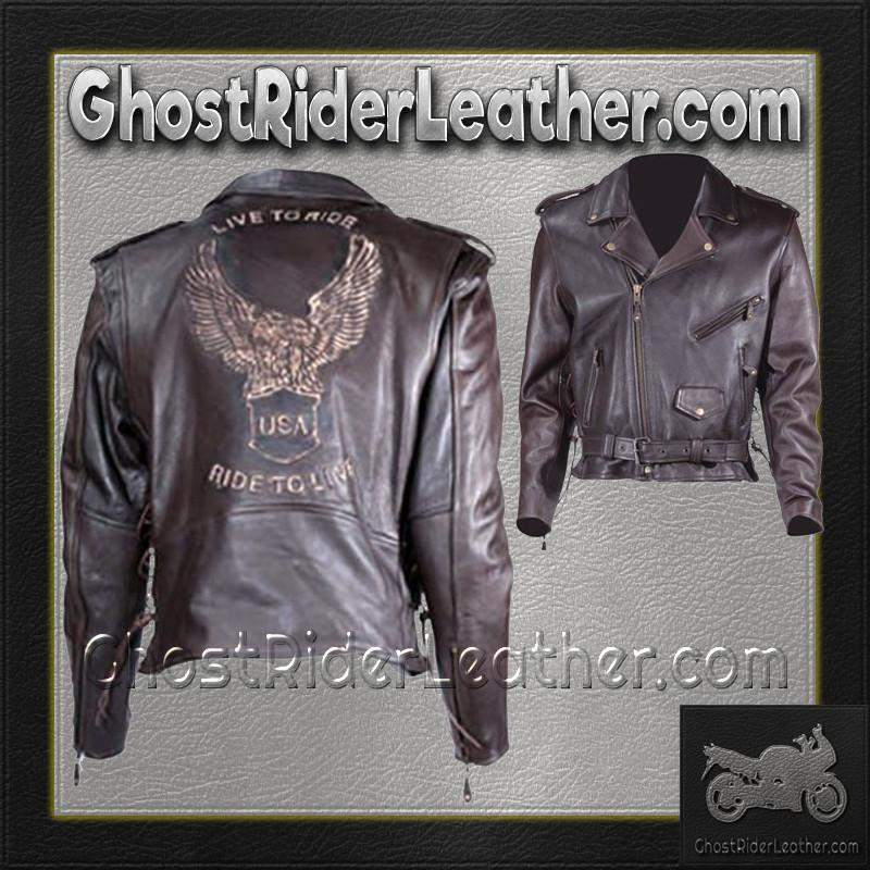 Classic Style Motorcycle Jacket with Side Laces and Live To Ride / SKU GRL-MJ703-DL-leather motorcycle jacket-Ghost Rider Leather