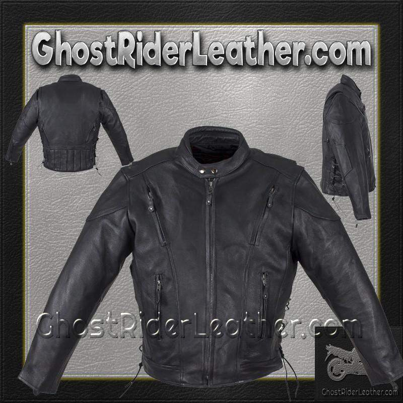 Mens Motorcycle Racer Jacket with Gun Pockets / SKU GRL-MJ711-DL-leather jacket-Ghost Rider Leather
