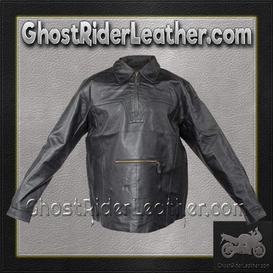 Mens Pullover Leather Shirt with Zipper Sides / SKU GRL-MJ770-DL-mens leather shirt-Ghost Rider Leather
