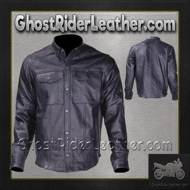 Mens Leather Shirt with Concealed Carry Pockets / SKU GRL-MJ777-07-DL-mens leather shirt-Ghost Rider Leather