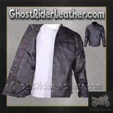 Mens Light Weight Leather Shirt For Summer Motorcycle Riding / SKU GRL-MJ777-11L-DL - Ghost Rider Leather