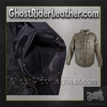 Mens Distressed Brown Leather Shirt with Concealed Carry Pockets / SKU GRL-MJ777-12L-DL - Ghost Rider Leather