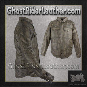 Mens Distressed Brown Leather Shirt with Concealed Carry Pockets / SKU GRL-MJ777-12L-DL-mens leather shirt-Ghost Rider Leather