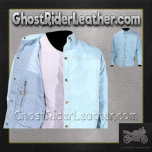 Mens Blue Leather Shirt with Snap Closure / SKU GRL-MJ777-15-DL-mens leather shirt-Ghost Rider Leather