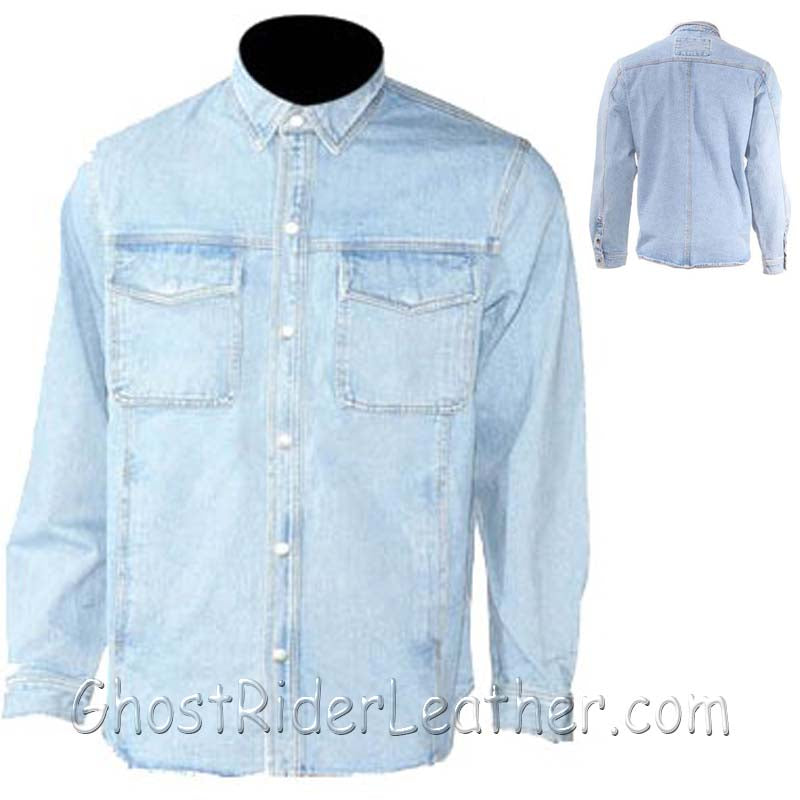 Mens Blue Denim Shirt with Snap Pockets / SKU GRL-MJ777-DENIM-DL-denim shirt-Ghost Rider Leather