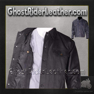 Mens Leather Shirt with Button Closure / SKU GRL-MJ778-DL-mens leather shirt-Ghost Rider Leather