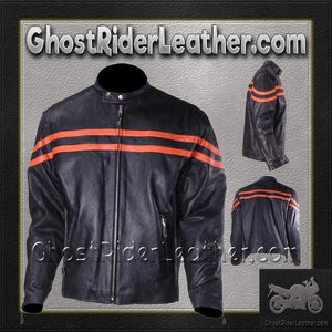 Mens Motorcycle Racer Jacket with Orange Stripe / SKU GRL-MJ779-ORG-DL-leather jacket-Ghost Rider Leather