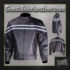 Mens Motorcycle Racer Jacket with Silver Stripe / SKU GRL-MJ779-SIL-DL-leather jacket-Ghost Rider Leather