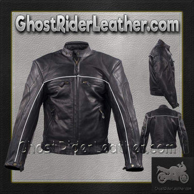 Mens Motorcycle Racer Leather Jacket with Reflective Piping / SKU GRL-MJ780-BLK-DL-leather jacket-Ghost Rider Leather