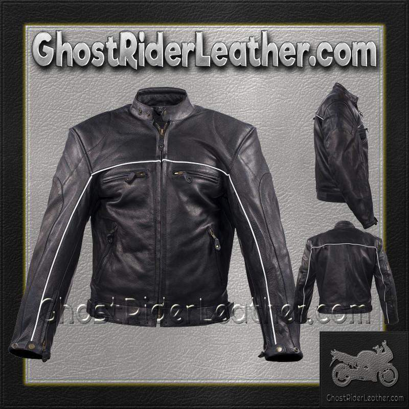 Mens Motorcycle Racer Leather Jacket with Reflective Piping / SKU GRL-MJ780-BLK-DL - Ghost Rider Leather