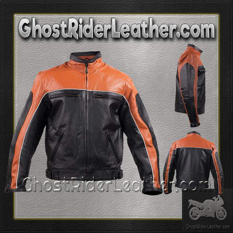 Mens Motorcycle Racer Leather Jacket  in Orange and Black - SKU GRL-MJ780-ORG-DL - Ghost Rider Leather
