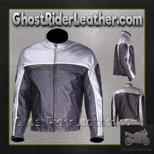 Mens Motorcycle Racer Leather Jacket in Silver and Black / SKU GRL-MJ780-SLV-DL-leather jacket-Ghost Rider Leather