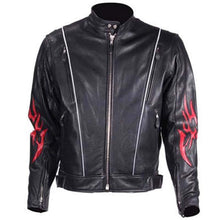 Mens Leather Racer Jacket with Red Flames and Reflective Piping - SKU GRL-MJ782-DL-leather motorcycle jacket-Ghost Rider Leather
