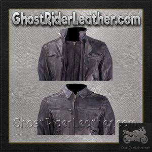 Vented Racer Leather Jacket with Convertible Collar / SKU GRL-MJ786-DL-leather motorcycle jacket-Ghost Rider Leather