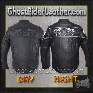 Racer Leather Jacket with Reflective Skulls and Concealed Carry Pocket - SKU GRL-MJ825-11-DL - Ghost Rider Leather