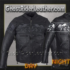 Racer Leather Jacket with Reflective Skulls and Concealed Carry Pocket / SKU GRL-MJ825-DL-leather motorcycle jacket-Ghost Rider Leather