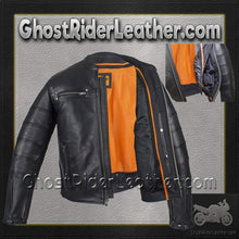 Black Pleated Racer Leather Jacket with Concealed Carry Pockets / SKU GRL-MJ828-DL-leather motorcycle jacket-Ghost Rider Leather