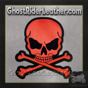 Red Monster Skull Crossbones Patch / SKU GRL-MK3-DL - Ghost Rider Leather