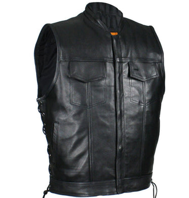 Mens Naked Leather Motorcycle Club Vest with Zip Front - SKU GRL-MR-MV9320-ZIP-11-DL - Ghost Rider Leather