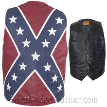 Mens Lambskin Leather Rebel Flag Motorcycle Vest - SKU GRL-MV2700-07-DL-mens leather motorcycle club vest-Ghost Rider Leather