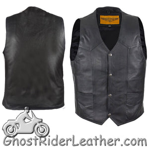Mens Plain Black Leather Classic Motorcycle Vest - SKU GRL-MV302-04-DL - Ghost Rider Leather