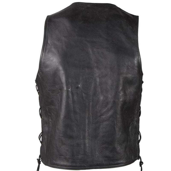 Mens Plain Zipper Front Premium Leather Vest With Side Laces / SKU GRL-MV310-ZIP-11-DL-mens leather motorcycle club vest-Ghost Rider Leather