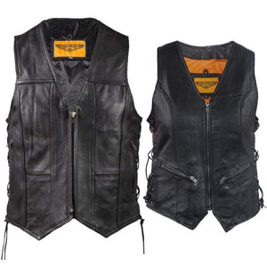 His and Hers Zipper Front Premium Leather Vests With Side Laces / SKU GRL-MV310-ZIP-11-LV8509-DL-mens leather motorcycle club vest-Ghost Rider Leather