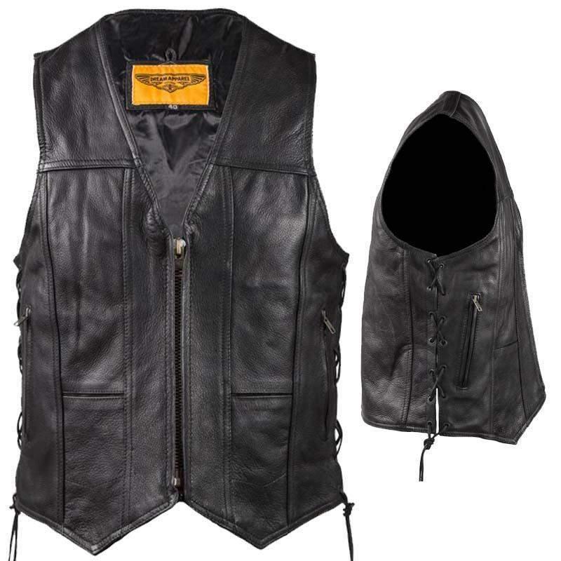 Mens Plain Zipper Front Split Leather Vest With Side Laces / SKU GRL-MV310-ZIP-SS-DL-mens leather motorcycle club vest-Ghost Rider Leather