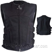 Mens Canvas SWAT Style Motorcycle Vest with Two Gun Pockets - SKU GRL-MV315-CV-DL-mens canvas gun pocket vest-Ghost Rider Leather