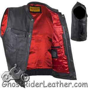 Mens Naked Leather Motorcycle Club Vest with Red Lining / SKU GRL-MV316-11-DL - Ghost Rider Leather