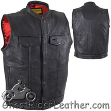 Mens Naked Leather Motorcycle Club Vest with Red Lining / SKU GRL-MV316-11-DL-mens leather vest-Ghost Rider Leather