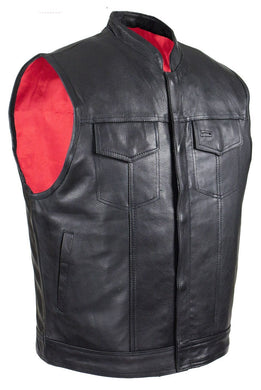 Mens Naked Leather Motorcycle Club Vest with Red Lining - SKU GRL-MV316-11-DL - Ghost Rider Leather