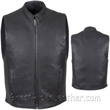 Mens Leather Motorcycle Club Vest with Zipper Front / SKU GRL-MV8001-DL - Ghost Rider Leather