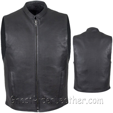 Mens Leather Motorcycle Club Vest with Zipper Front / SKU GRL-MV8001-DL-leather vest-Ghost Rider Leather