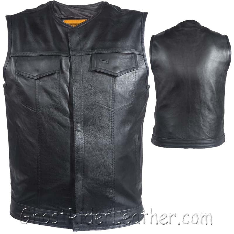 Mens Motorcycle Club Naked Leather Vest With Zipper - No Collar - SKU GRL-MV8008-ZIP-11-DL-mens leather motorcycle vest-Ghost Rider Leather