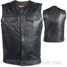 Mens Leather Motorcycle Club Vest with Zipper and No Collar / SKU GRL-MV8008-ZIP-SS-DL - Ghost Rider Leather