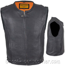 Mens Speedster Motorcycle Club Leather Vest - SKU GRL-MV8012-11-DL-mens leather motorcycle vest-Ghost Rider Leather