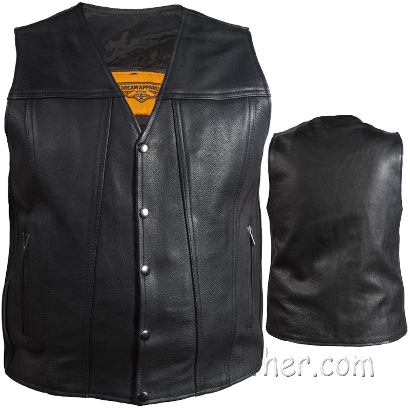 A Mens Classic Motorcycle Club Vest with Concealed Carry Pockets / SKU GRL-MV8014-DL - Ghost Rider Leather