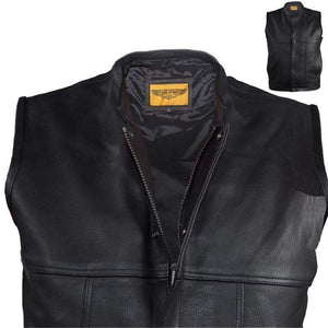 Mens Renegade Motorcycle Club Vest With Zipper Front - SKU GRL-MV8017-ZIP-11-DL-mens leather motorcycle vest-Ghost Rider Leather