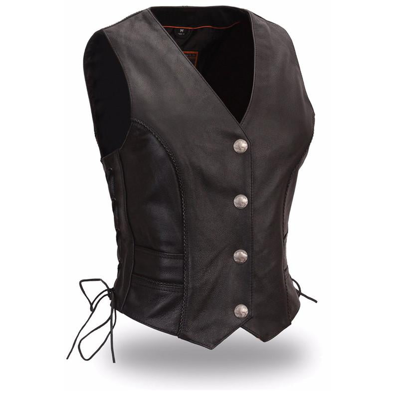 Native Lacy - Women's Motorcycle Leather Vest - FIL538CFD - Ghost Rider Leather