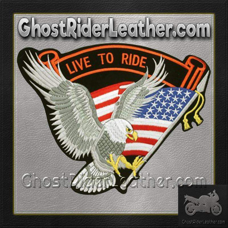 Silver Eagle with USA Flag and Live To Ride Banner Patch / SKU GRL-PAT-A10-DL-biker patch-Ghost Rider Leather