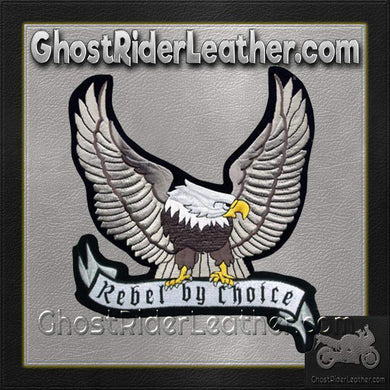 Silver Eagle with Rebel By Choice Banner Patch / SKU GRL-PAT-A24-DL - Ghost Rider Leather