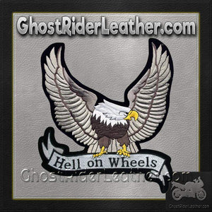 Silver Eagle with Hell On Wheels Banner Patch / SKU GRL-PAT-A25-DL-biker patch-Ghost Rider Leather